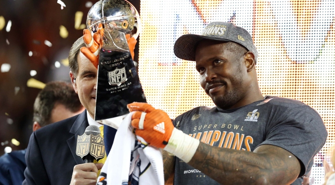 Feb 7, 2016; Santa Clara, CA, USA; Denver Broncos outside linebacker Von Miller (58) celebrates with the Vince Lombardi Trophy after being named the Super Bowl MVP after beating the Carolina Panthers in Super Bowl 50 at Levi's Stadium. Mandatory Credit: Matthew Emmons-USA TODAY Sports